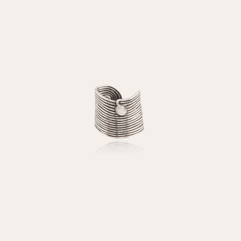 Wave men ring silver