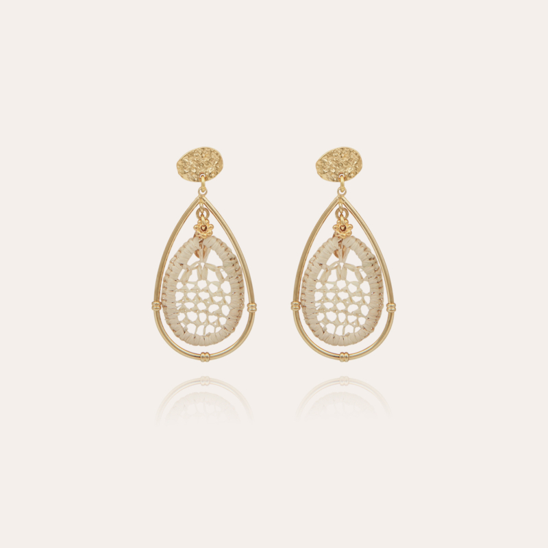 Cage raffia earrings gold