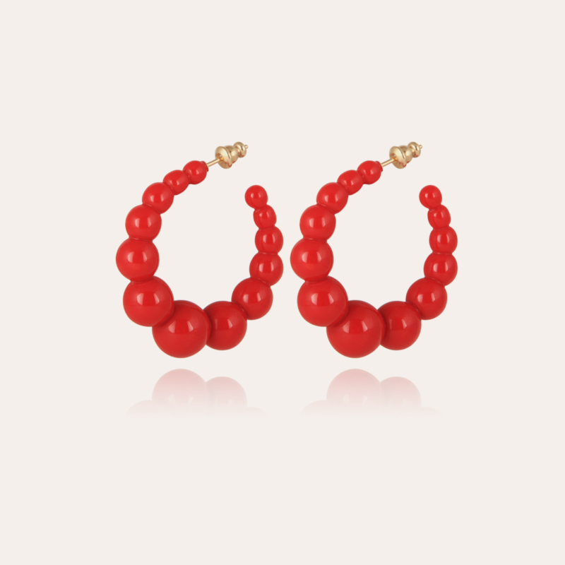 Andy hoop earrings small size acetate gold - Red