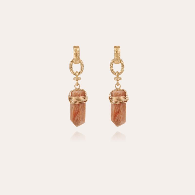 Aventura earrings gold - Pink Calcite