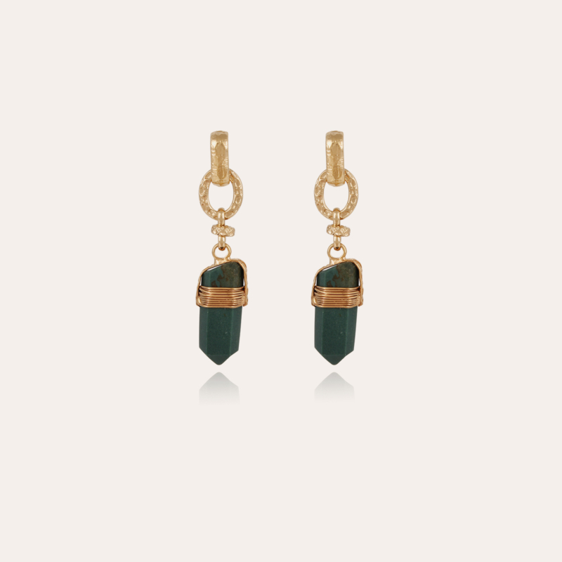 Aventura earrings gold - Green Jaspe