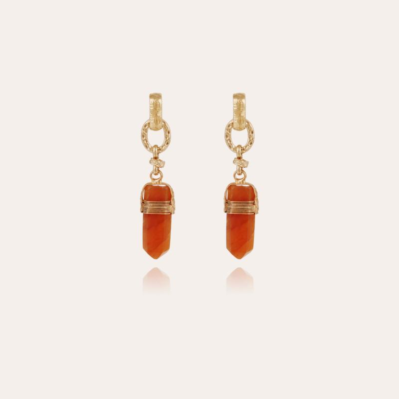 Aventura earrings gold - Cornaline