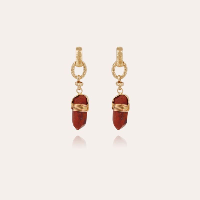 Aventura earrings gold - Red Jaspe