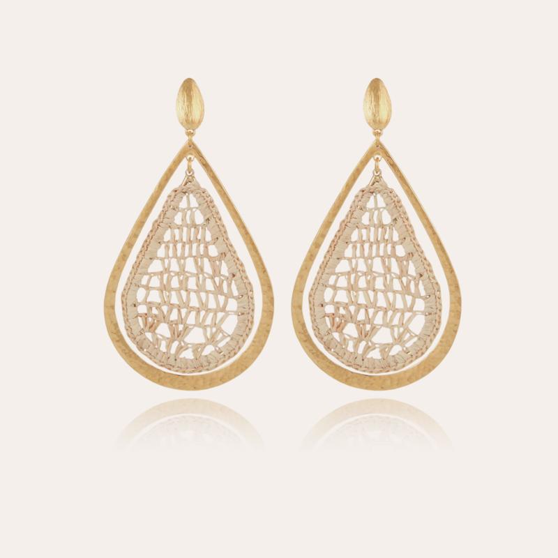Bibis raffia earrings gold
