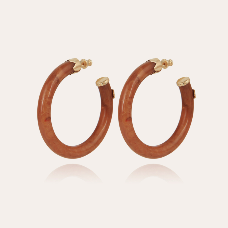 Caftan hoop earrings acetate gold - Cappuccino