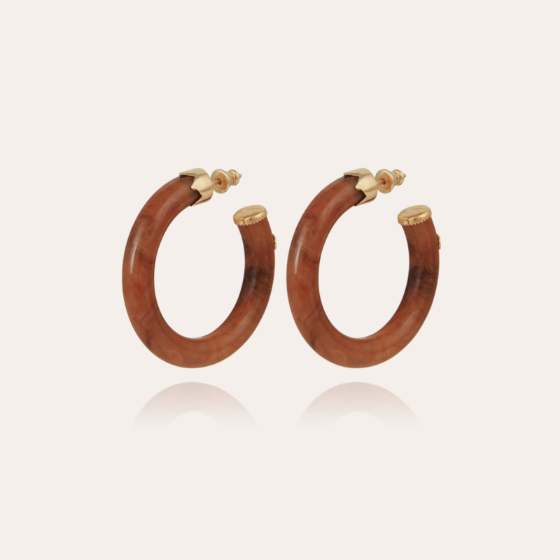 Caftan hoop earrings small size acetate gold - Cappuccino