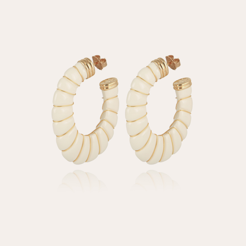 Cyclade earrings large size gold - Ivory