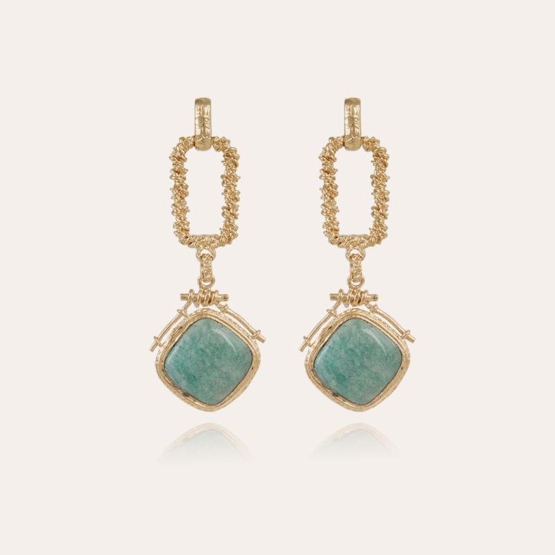 Siena earrings gold - Amazonite