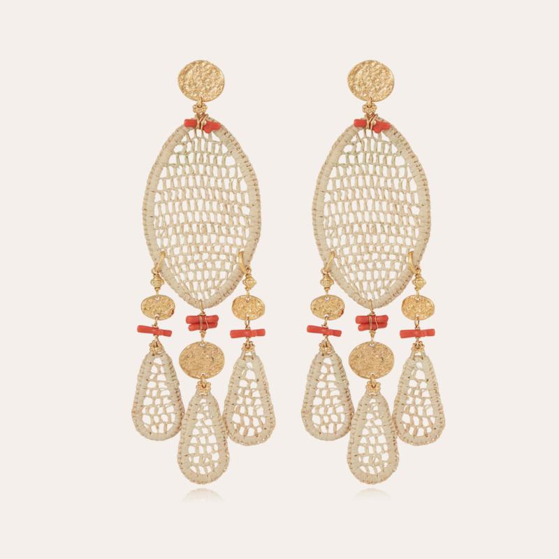 Fanfaria Bis earrings raffia gold