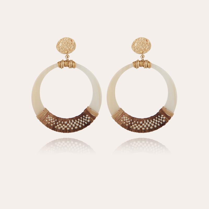 Lodge raffia earrings small size acetate gold - Ivory