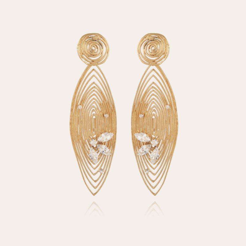 Longwave strass earrings large size gold