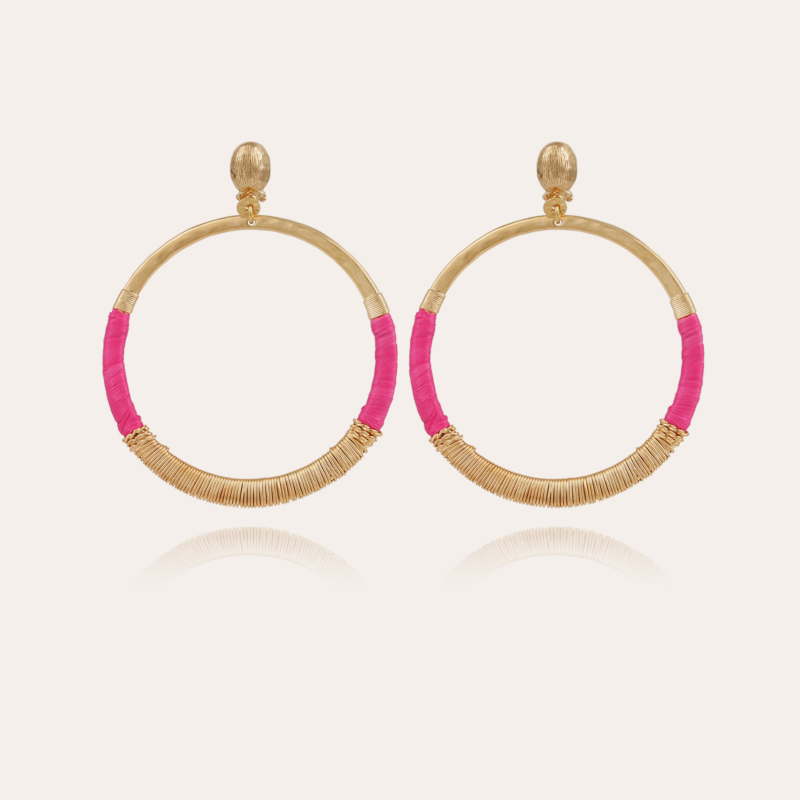 Mimi Macao raffia earrings gold