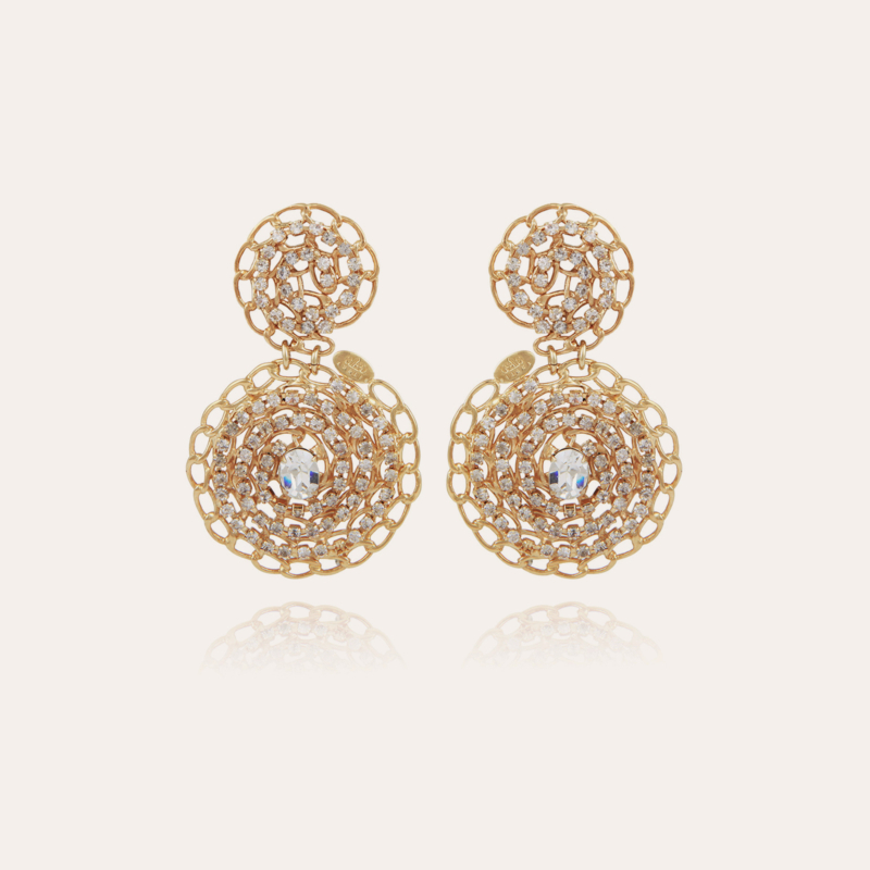 Onde Gourmette strass earrings small size gold