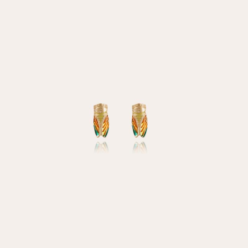 Cigale studs earrings enamel gold