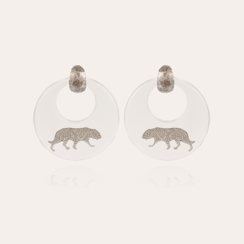 Tiger earrings acetate silver - Clear