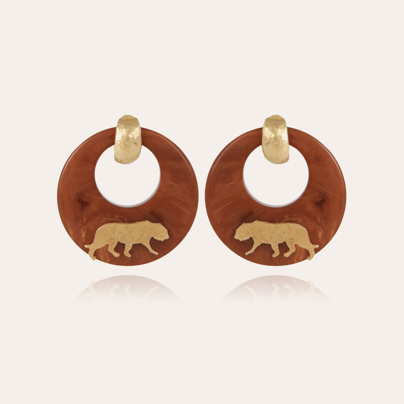 Tiger earrings acetate gold - Cappuccino