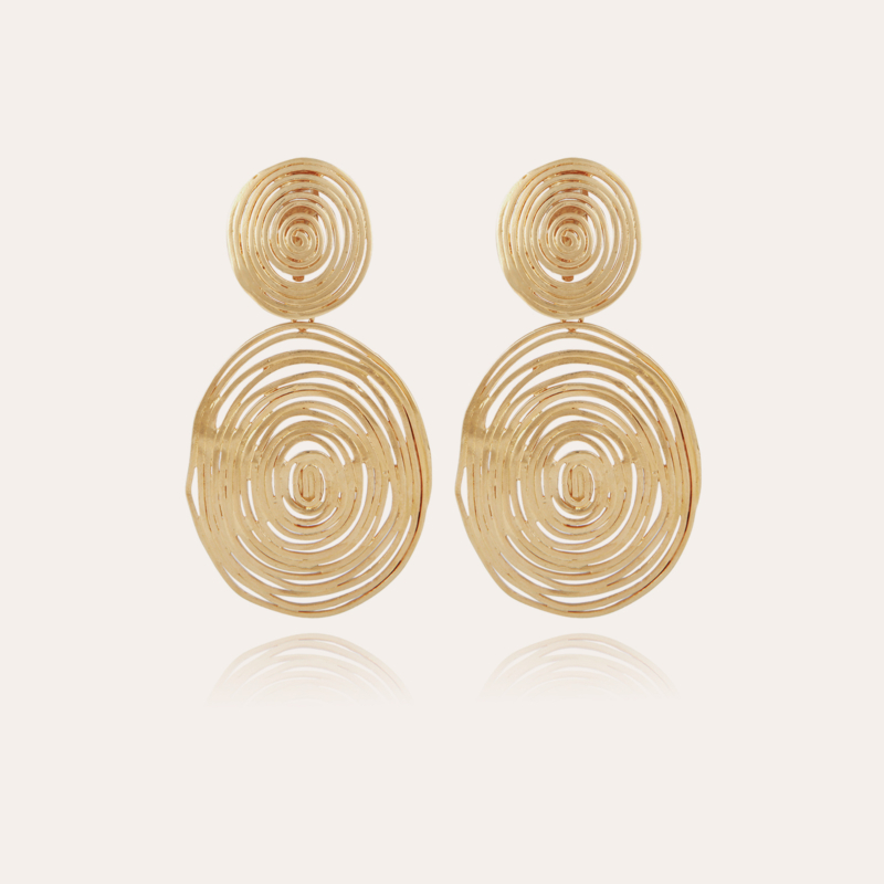 Wave earrings large size gold