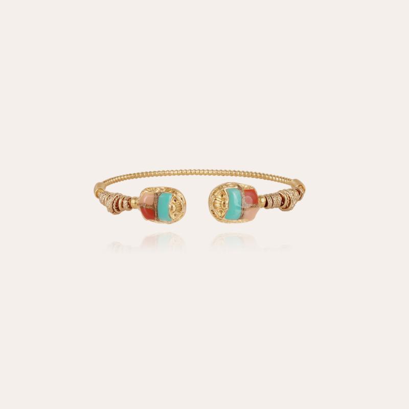 Duality large Scaramouche Twist enamel bracelet gold