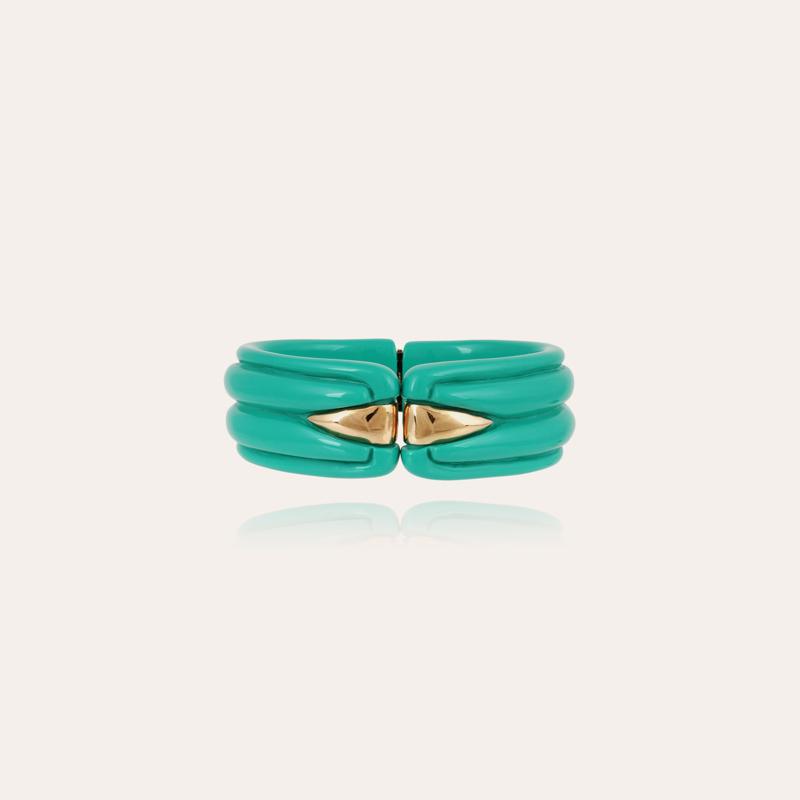 Ecume bracelet acetate gold - Turquoise