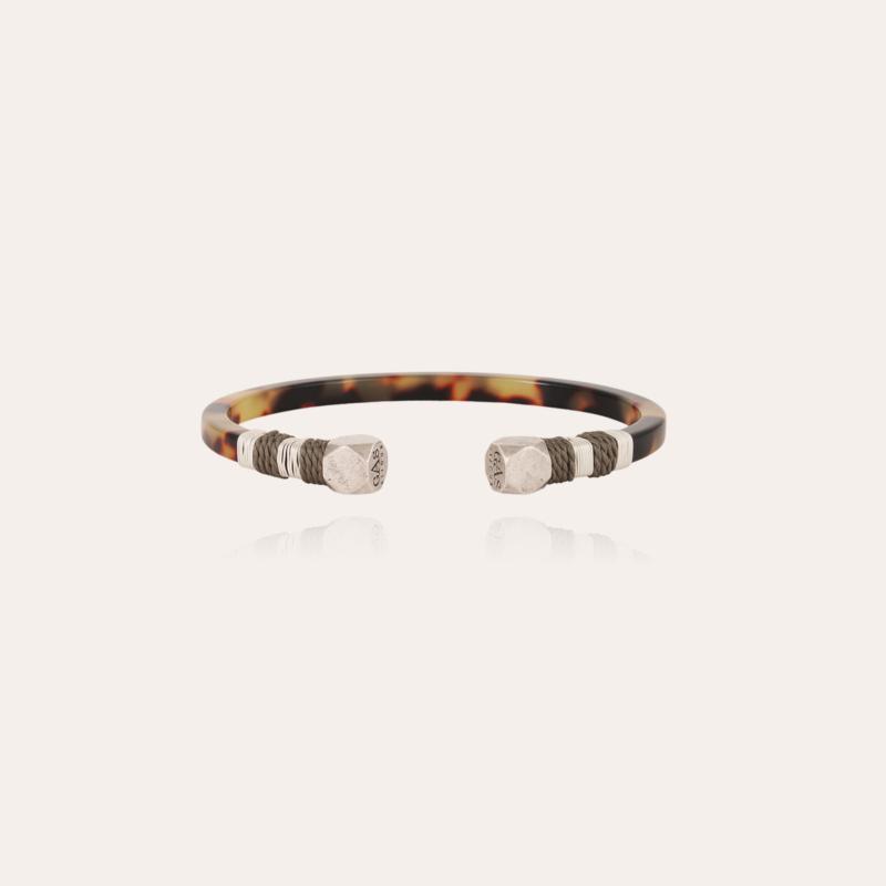 Sari men bracelet acetate silver - Tortoise