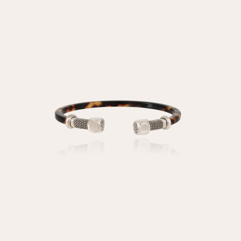 Sari Bis men bracelet acetate silver - Tortoise