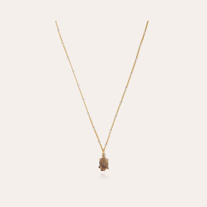 Turtle mother-of-pearl necklace mini gold