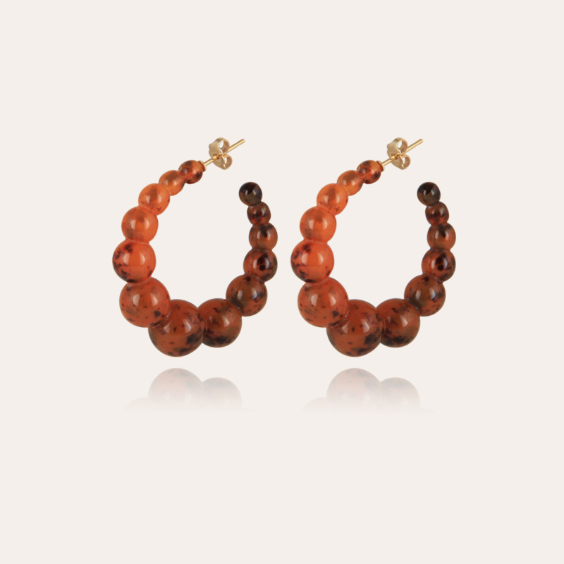 Andy hoop earrings small size acetate gold - Amber
