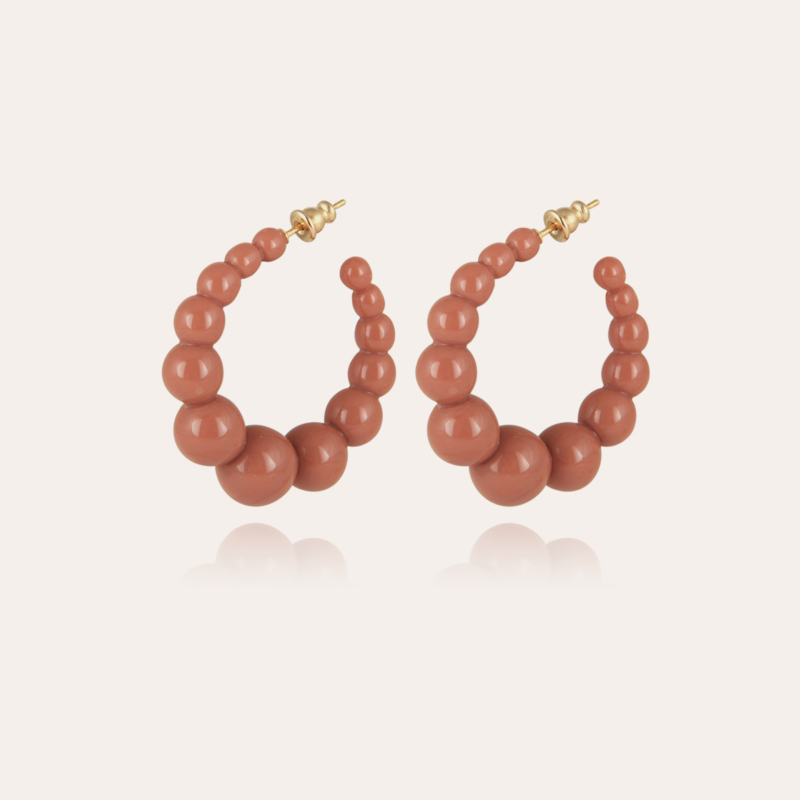Andy hoop earrings small size acetate gold - Brown