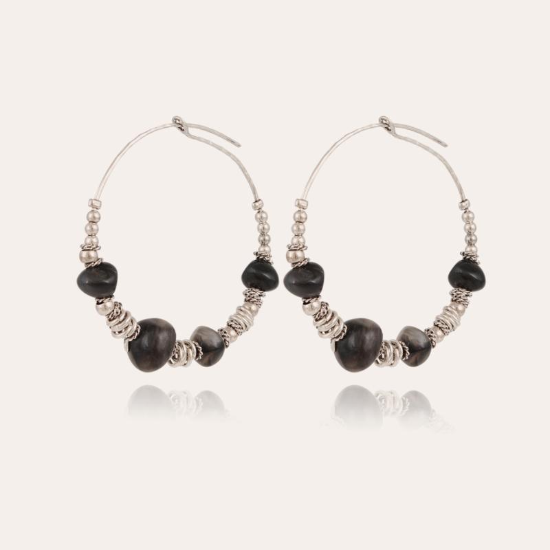 Biba hoop earrings small size acetate silver