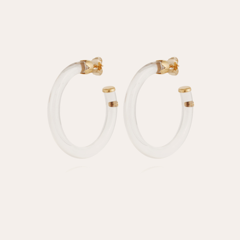 Caftan hoop earrings acetate gold - Clear