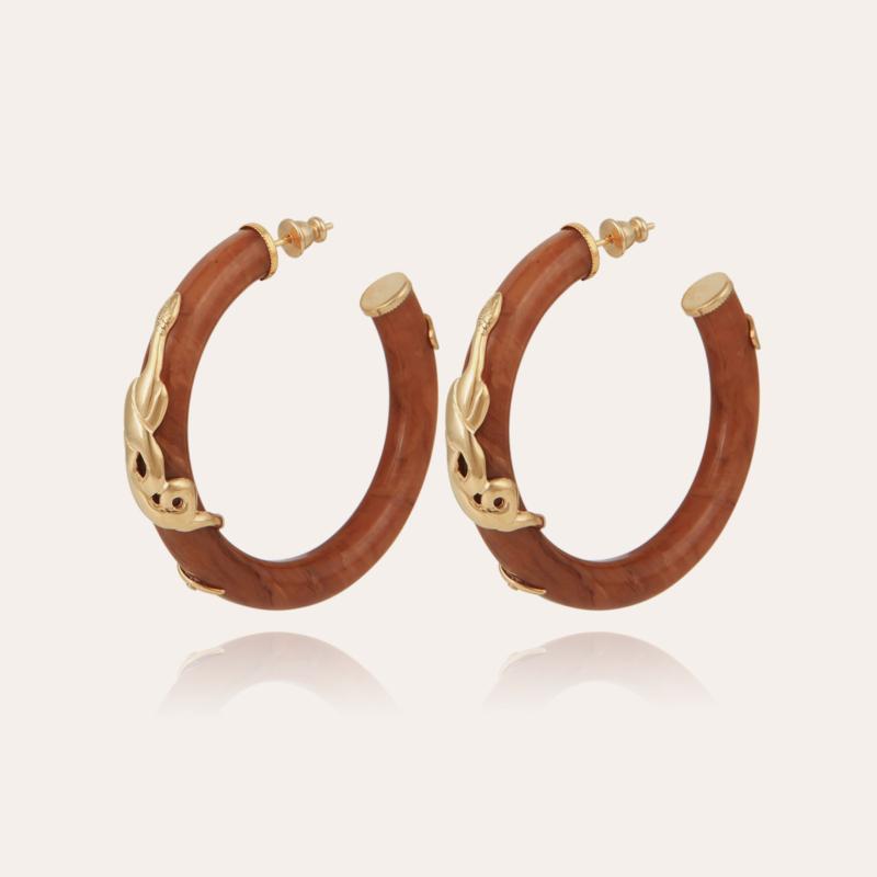 Cobra hoop earrings acetate gold - Cappucino