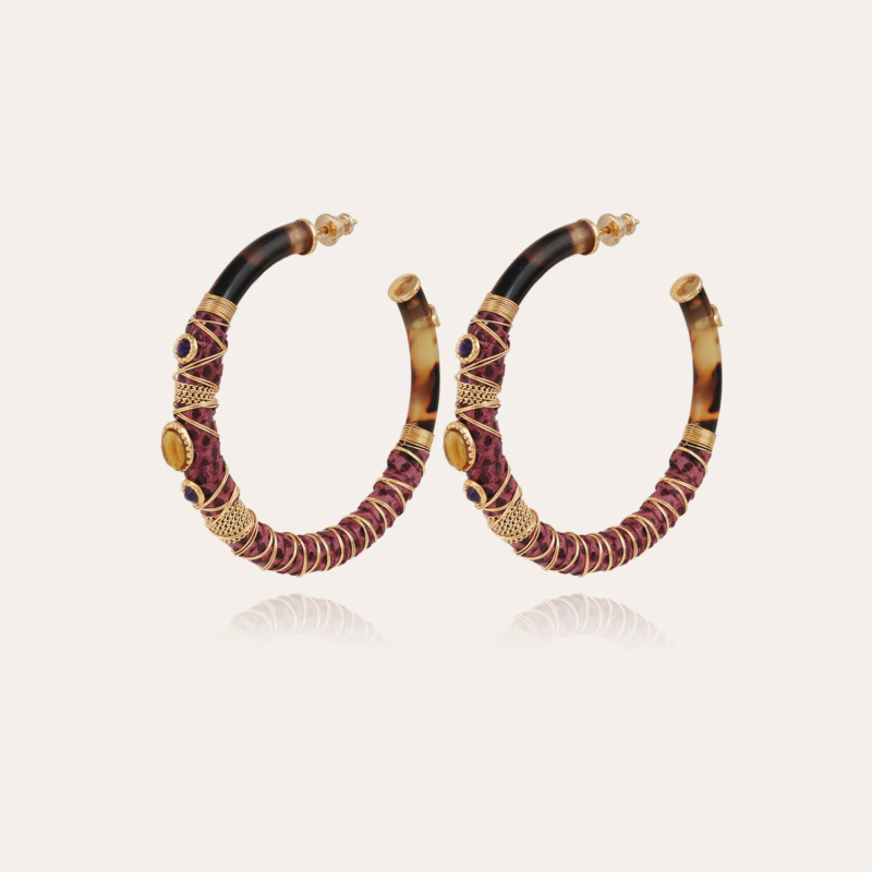 Comporta cabochons hoop earrings acetate gold - Tortoise - Exclusive piece (3 pieces)