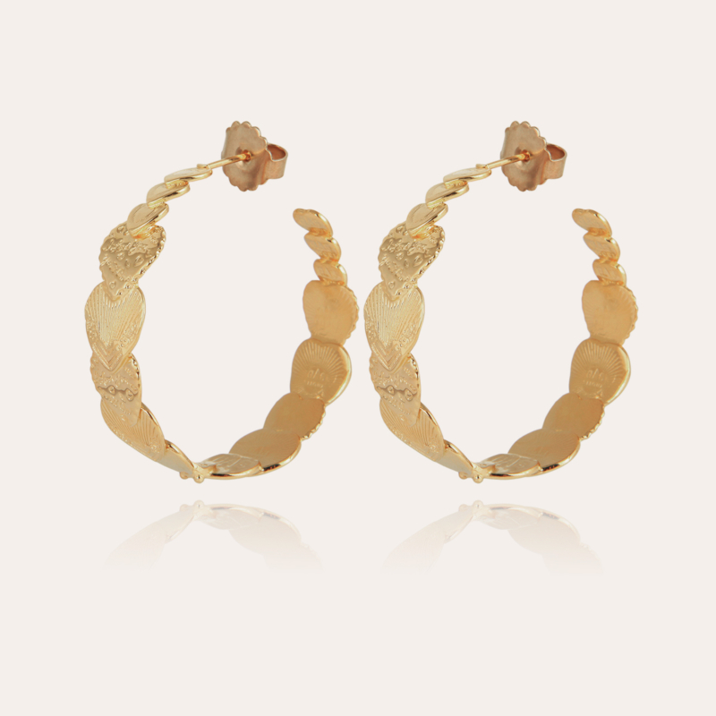 Cuore hoop earrings large size gold