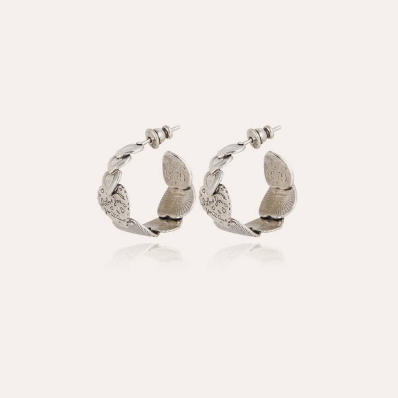 Cuore hoop earrings small size silver