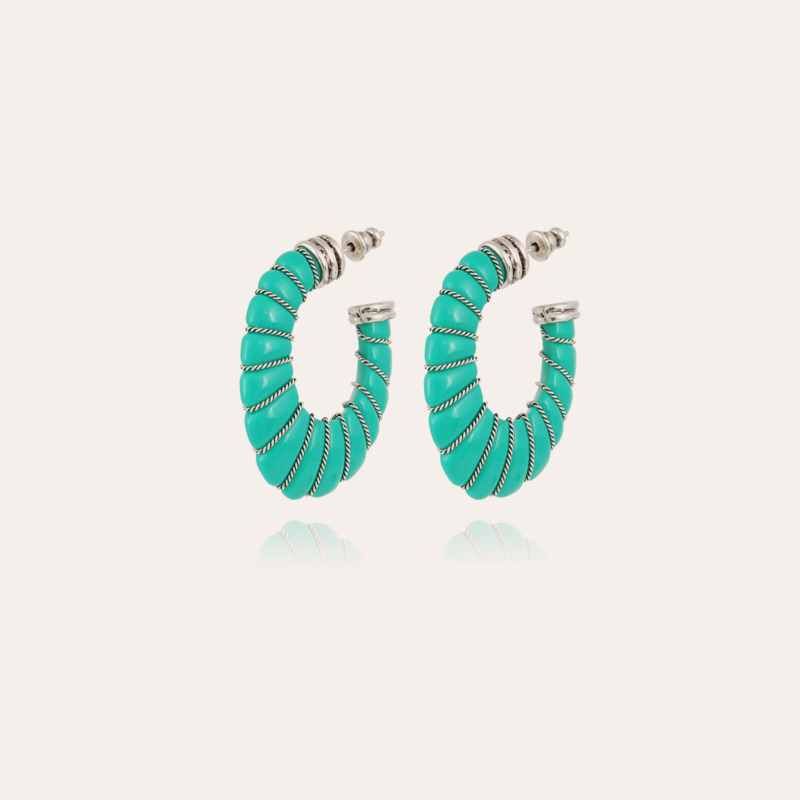 Cyclade earrings small size acetate silver - Turquoise