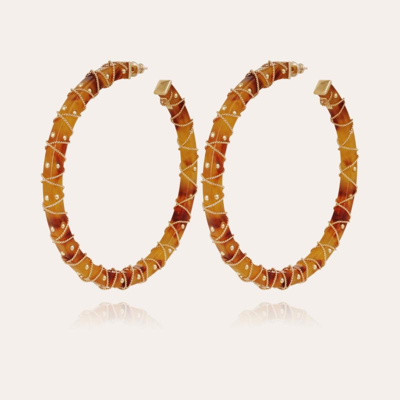 Hélios hoop earrings acetate gold - Amber - Exclusive piece (3 pieces)