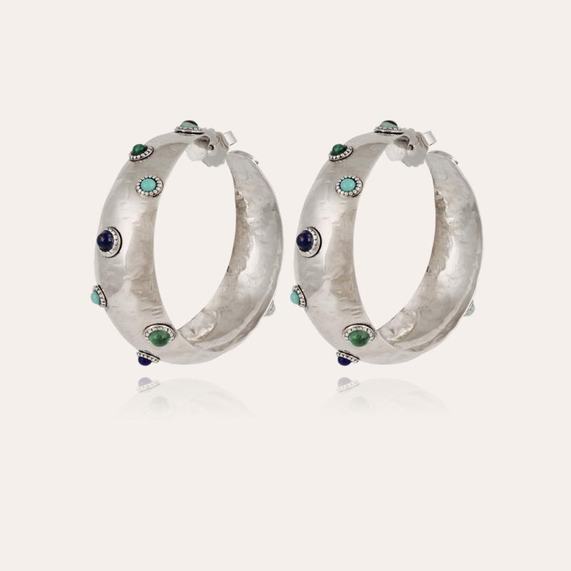 Leontia hoop earrings large size silver