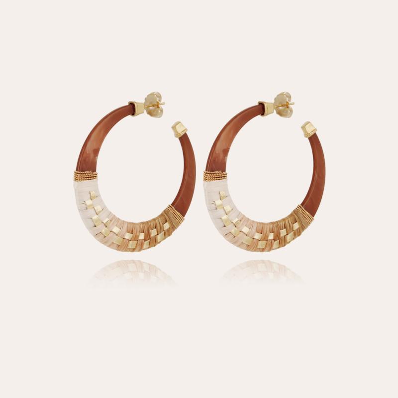 Lodge raffia hoop earrings small size acetate gold - Cappuccino