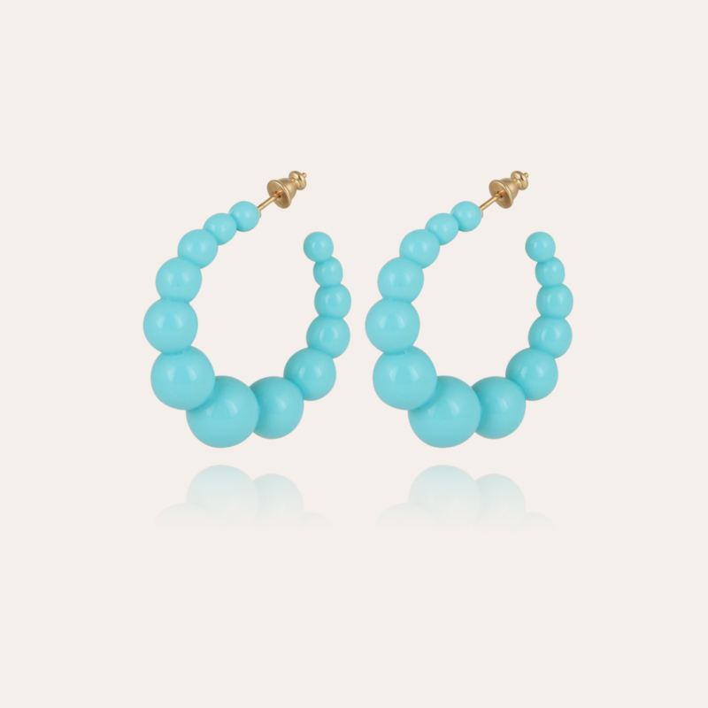 Andy hoop earrings small size acetate gold - Turquoise