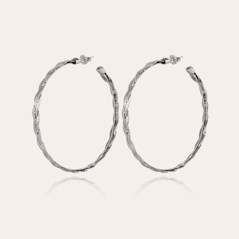 Tresse hoop earrings silver