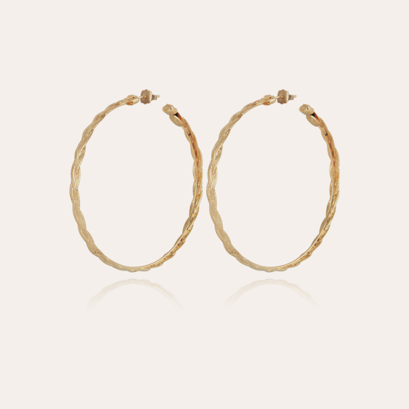 Tresse hoop earrings medium size gold