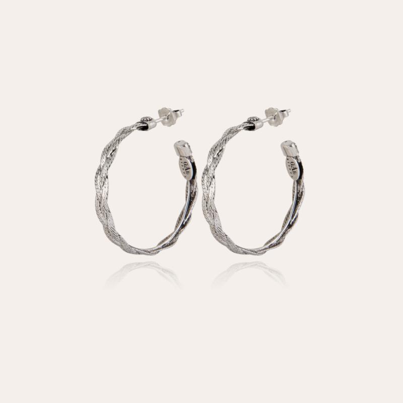 Tresse hoop earrings small size silver