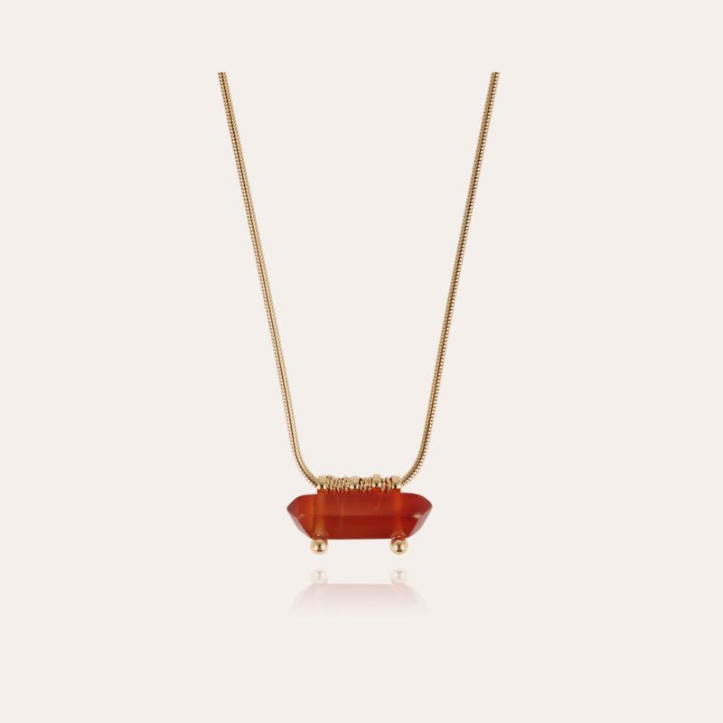Aventura necklace gold - Cornaline