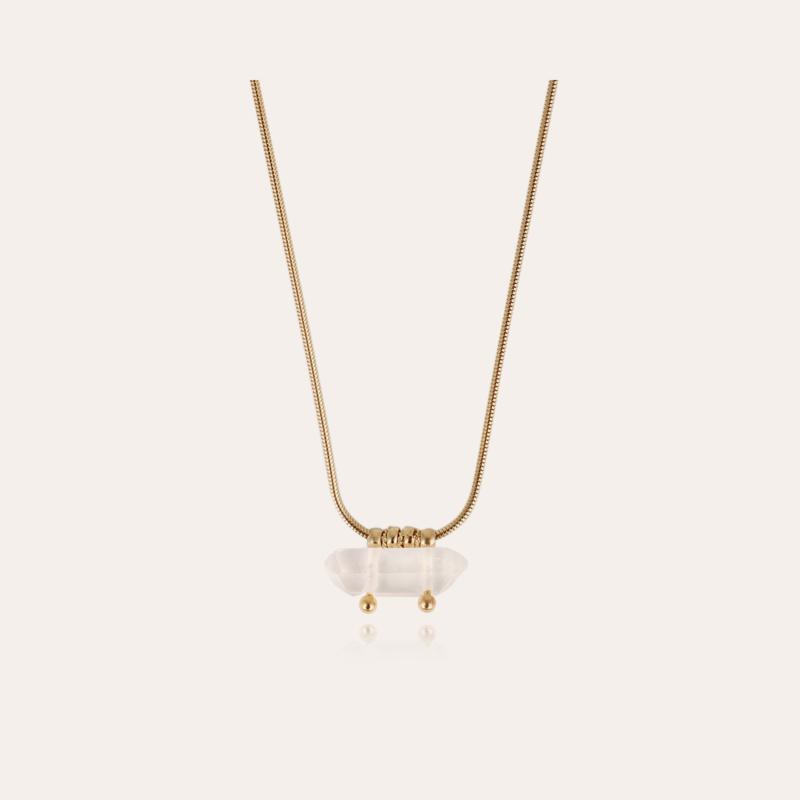 Cristal necklace gold - Rock crystal