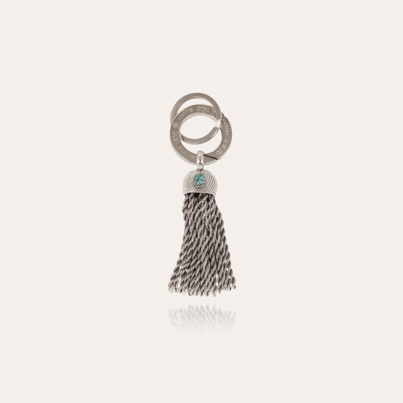 Pompon cabochon key ring silver