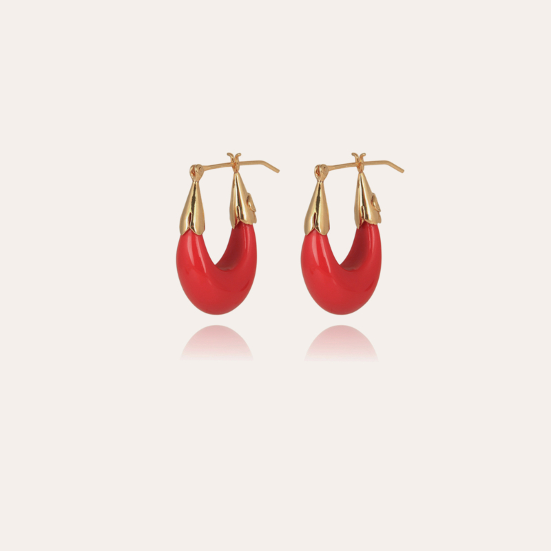 Ecume earrings small size gold - Coral
