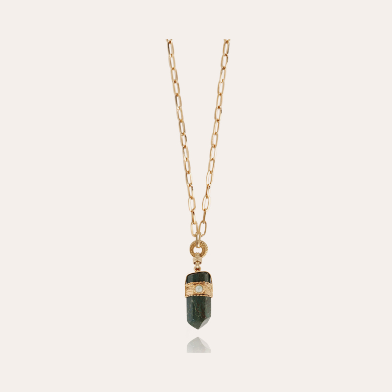 Aventura Serti long necklace small size gold - Green Jaspe