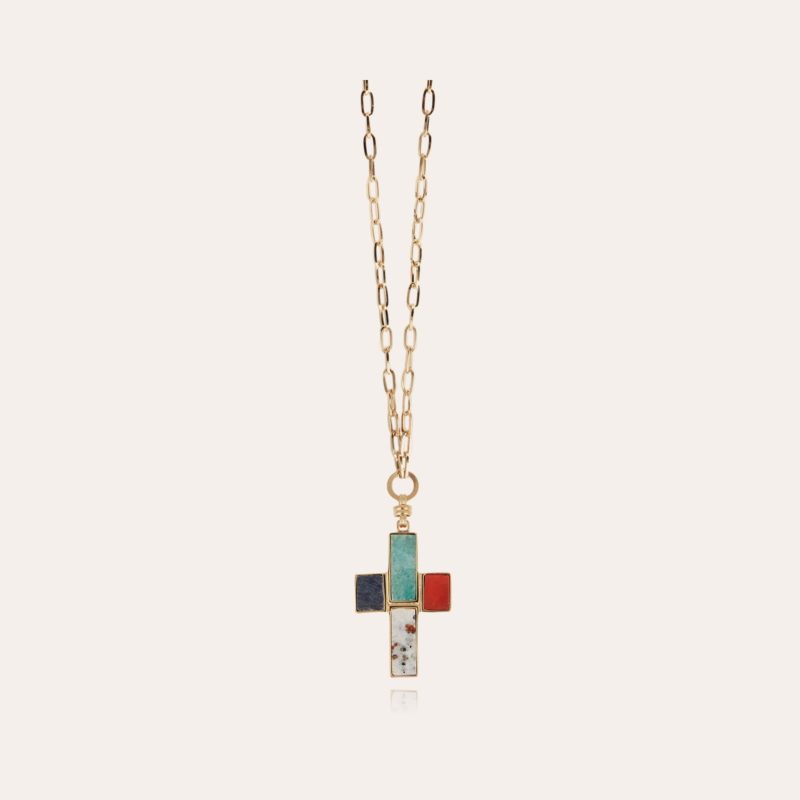 Croix Serti long necklace gold