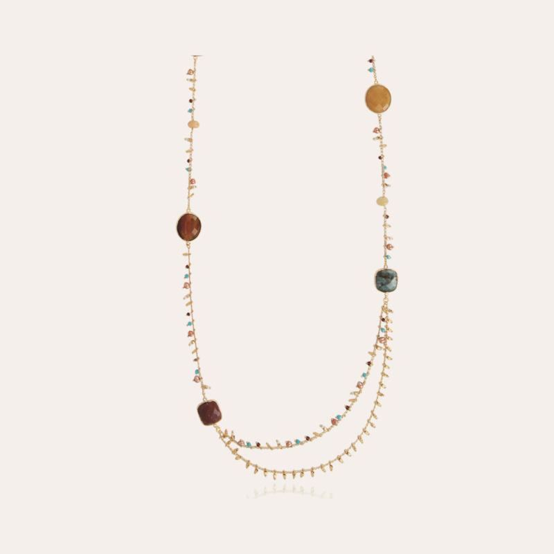 Serti Pondichérie long necklace gold - Exclusive piece (2 pieces)