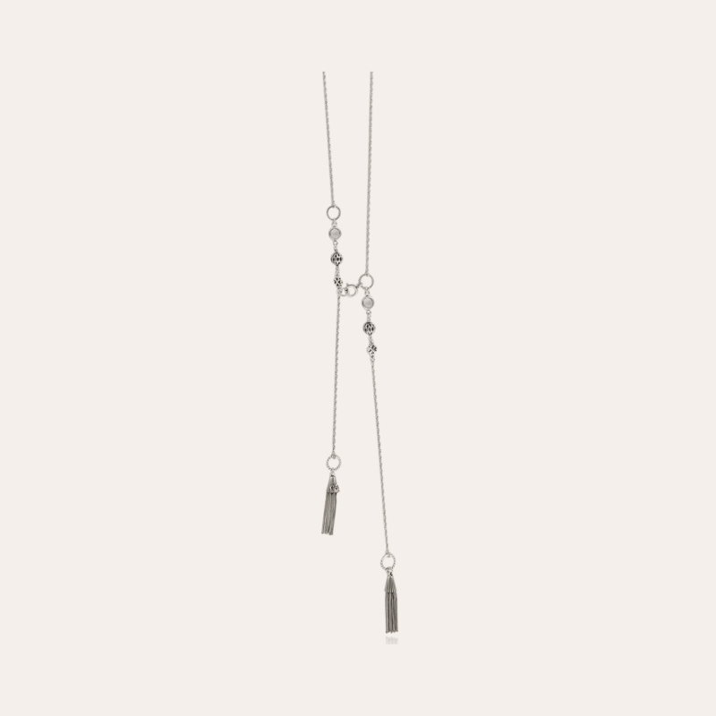 Tresse long necklace silver